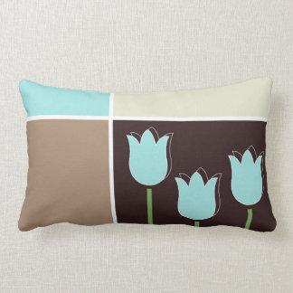 Robins Egg Blue Tulip Geometric Shape Brown Cream Lumbar Cushion