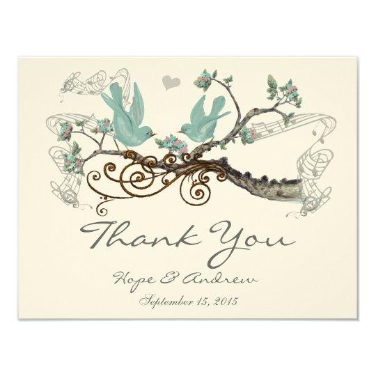 Robin's Egg Blue Vintage Love Birds Thank You