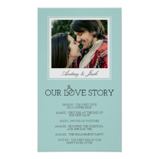 Robin's Egg Blue Wedding Love Story Poster