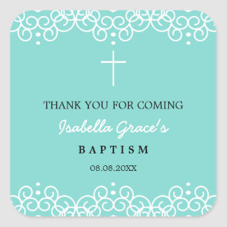 Robin's Egg Blue & White   Baptism Thank You Square Sticker