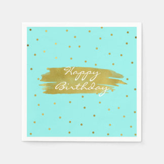Robins Egg Blue With Gold Dots Birthday Napkins Paper Napkin