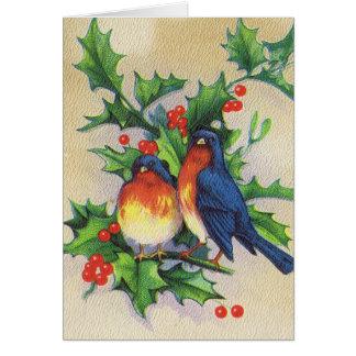 Robins & Holly Christmas Greeting Card