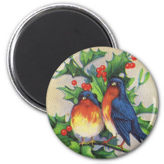 Robins & Holly Christmas Magnet