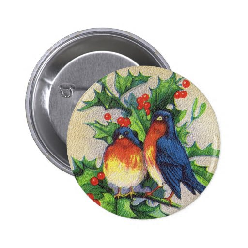 Robins & Holly Christmas Pinback Buttons