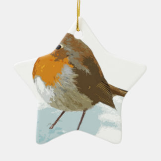 Robins  in Snow Christmas Ornament