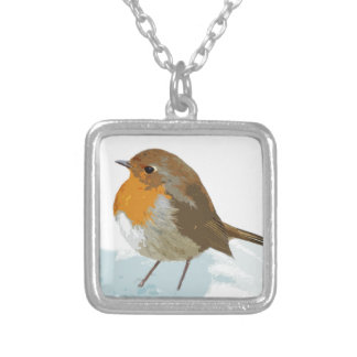 Robins  in Snow Silver Plated Necklace