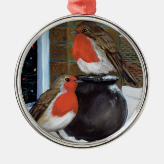 Robins in the snow christmas ornament