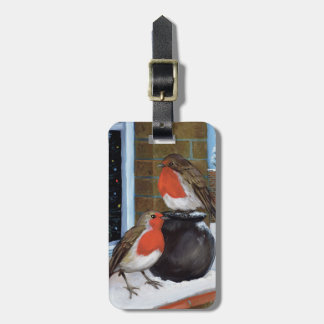 Robins in the snow luggage tag