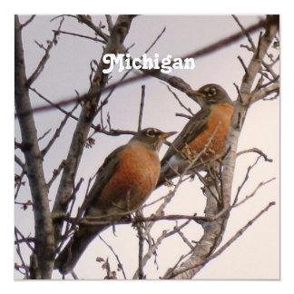 """Robins 5.25"""" Square Invitation Card"""