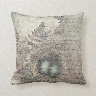Robins Nest with french text. Cushion