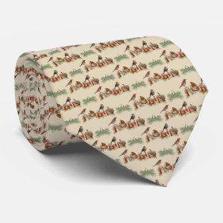 Robins Texture Tie Double Sided Print (Cream)