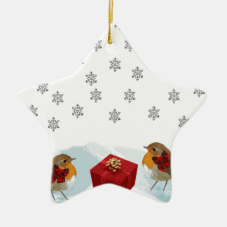 Robins with Gift and Christmas Tartan Bow in Snow Christmas Ornament