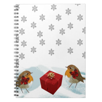 Robins with Gift and Christmas Tartan Bow in Snow Notebook