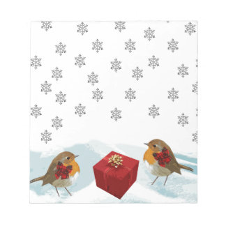 Robins with Gift and Christmas Tartan Bow in Snow Notepad
