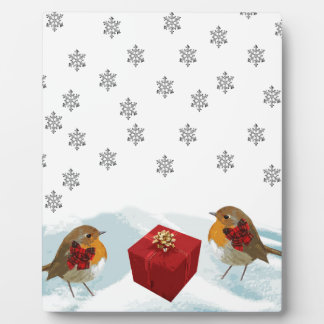 Robins with Gift and Christmas Tartan Bow in Snow Plaque
