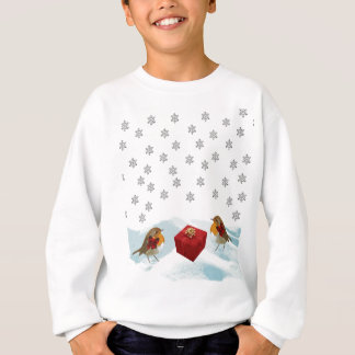 Robins with Gift and Christmas Tartan Bow in Snow Sweatshirt