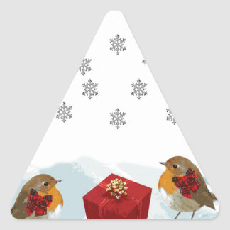 Robins with Gift and Christmas Tartan Bow in Snow Triangle Sticker