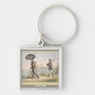Robinson Crusoe and his Man Friday, (HB Sketches N Silver-Colored Square Key Ring