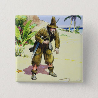 Robinson Crusoe, from 'Peeps into the Past', publi 15 Cm Square Badge