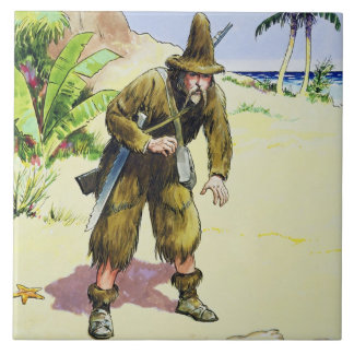 Robinson Crusoe, from 'Peeps into the Past', publi Tile