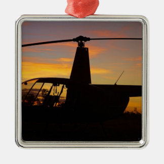 Robinson R44 helicopter at sunset Christmas Ornament