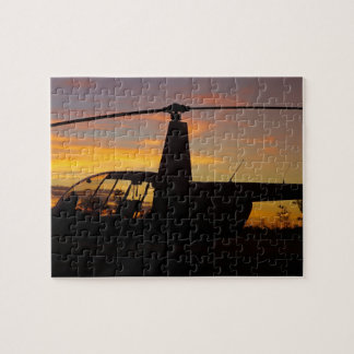 Robinson R44 helicopter at sunset Jigsaw Puzzle