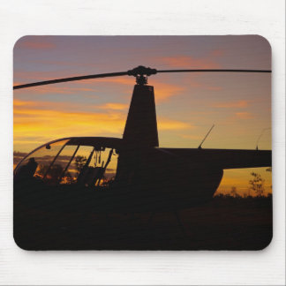 Robinson R44 helicopter at sunset Mouse Mat