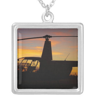 Robinson R44 helicopter at sunset Silver Plated Necklace