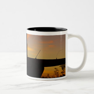 Robinson R44 helicopter at sunset Two-Tone Coffee Mug
