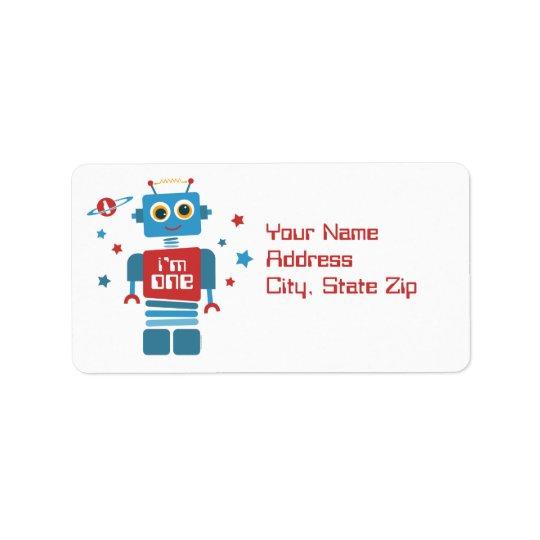 Robot 1st Birthday Label