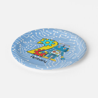 Robot 2nd Birthday Custom Paper Plate