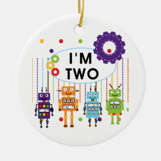 Robot 2nd Birthday tshirts and Gifts Christmas Ornament