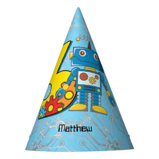 Robot 3rd Birthday Party Hat