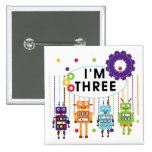 Robot 3rd Birthday T shirts and Gifts Pin