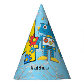 Robot 4th Birthday Party Hat