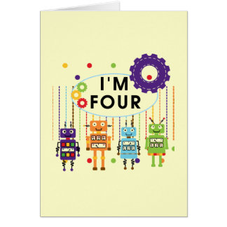 Robot 4th Birthday Tshirts and Gifts Card