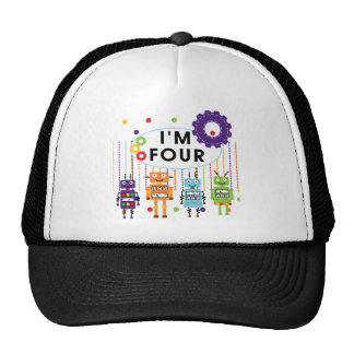 Robot 4th Birthday Tshirts and Gifts Mesh Hat