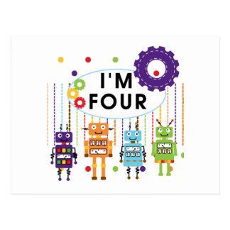 Robot 4th Birthday Tshirts and Gifts Postcard