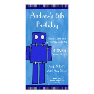 Robot 5th Birthday Photo Card Template