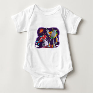 ROBOT AND ROCKET DRAWING BABY BODYSUIT