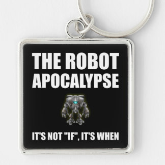 Robot Apocalypse Silver-Colored Square Key Ring