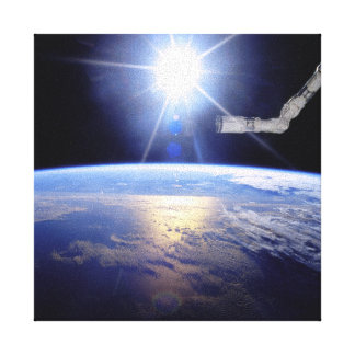 Robot Arm Over Earth with Sunburst Stretched Canvas Prints