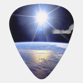 Robot Arm Over Earth with Sunburst Guitar Pick