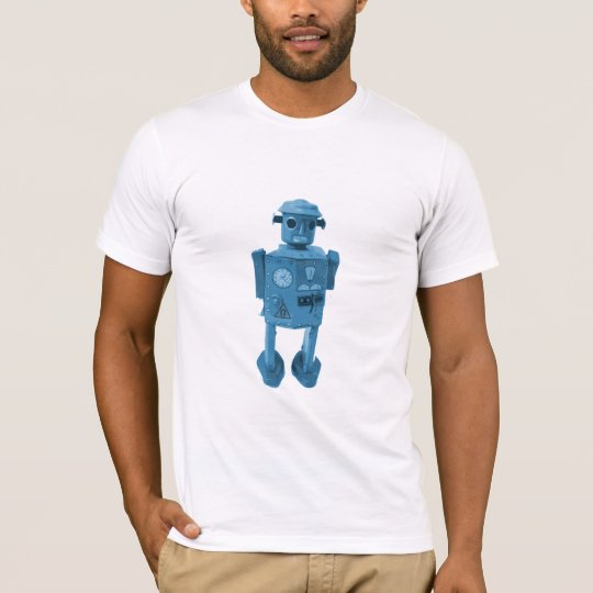 Robot Attack! Blue Atomic Space age Robot T-Shirt