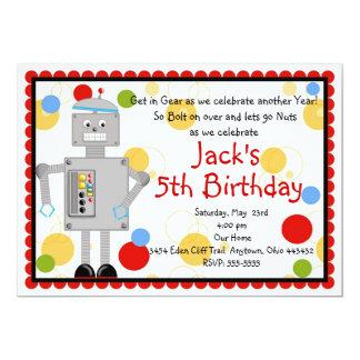 "Robot  Birthday Invitation 5"" X 7"" Invitation Card"
