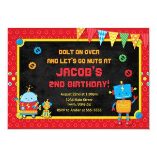 Robot Birthday Invitation Robot Party Invite