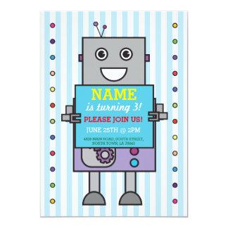 ROBOT Birthday Party Blue Stripe Boys Invitation