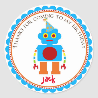 Robot Birthday Party Favor Stickers