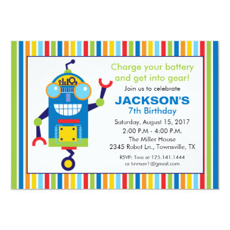 Robot Birthday Party Invitation