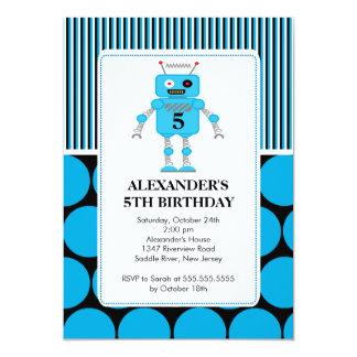Robot Birthday Party Invitation Blue / Black